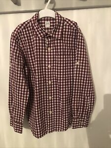 Gap Boys Burgundy & White Checked Shirt M Medium Age 8