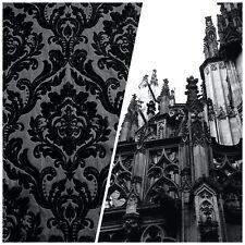 Designer Damask Burnout Chenille Velvet Fabric - Black on Black