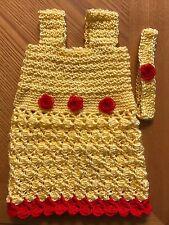 Handmade crochet YELLOW baby dress RED FLOWERS+headband set 12 MTHS 1 YR SPRING