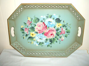 """VINTAGE NASHCO TOLEWARE METAL HAND PAINTED FLORAL TRAY W/RETICULATED HANDLES 20"""""""