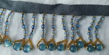 VINTAGE TRIM BEADED BLUE GOLDEN DANGLE RETRO SEWING COLLECTABLE