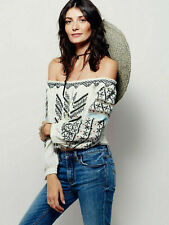 Free People White All I Need Embroidered Off Shoulder Crop Blouse Top Size XS