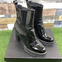 UK7 Kurt Geiger STORM Black Patent High Heeled Boots - Boxed - Smart Casual EU40