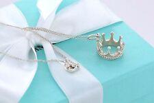 "Tiffany & Co RARE Silver Crown Princess Charm 18"" Necklace w/ Box & Pouch"