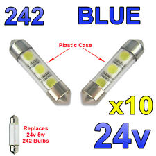 10 x Blue 24v 39mm Festoon Interior Plate Light 242 C5W 3 SMD Bulbs HGV Truck