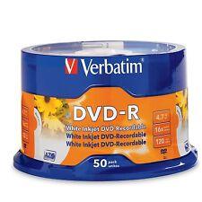 ($0 p&h) Verbatim DVD-R 50PK 16X 4.7 GB Branded White Inkjet Printable P/N 95137