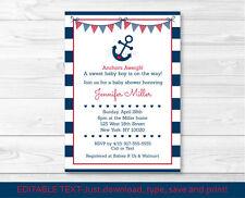 Nautical Anchor Navy Blue & Red Printable Baby Shower Invitation Editable PDF