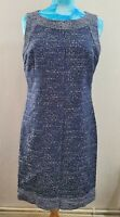 White Stuff Navy Blue Fleck Boucle Sleeveless Shift  Dress Size 12 uk