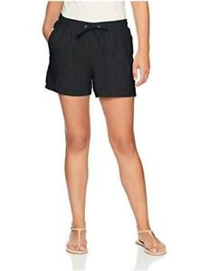 "Essentials Women's 5"" Drawstring Linen Short, Black,, Black, Size Medium"