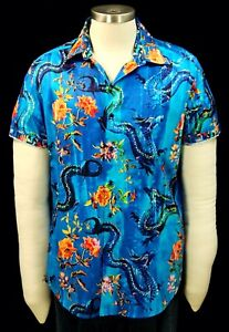 Robert Graham Elmore NWT Blue Sea Dragon Short Sleeve XL