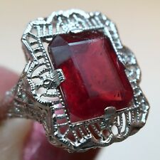 Antique 3.5ct Natural Emerald Cut Ruby Ring 10K White Gold Filigree Size 6