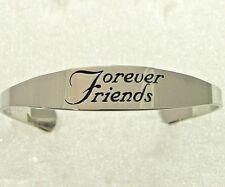 Forever Friends Cuff Bracelet Bangle Stainless Steel Silver Best Friend