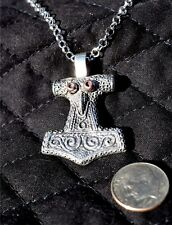 Sterling silver ornate THOR'S Hammer necklace, copper eyes
