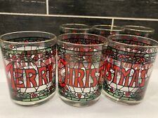 Vtg Merry Christmas Houze Glasses Set of 6 Stained Glass Barware Tumblers