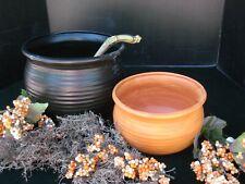 USA NEW Ceramic Witch Cauldro/Ladle Punch Bowl Set Black Orange Satin Glaze