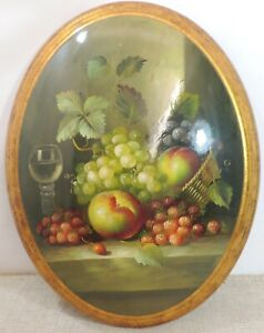 Delightful Oval still life painting hanging - gilt surround.   | Thames Hospice