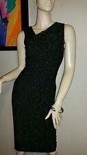 NWT NICOLE MILLER ARTELIER Black Metallic Gold Detail Sleeveless Dress Sz 6 $365