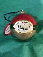 MERRY CHRISTMAS to ABIGAIL Paper Mache Ball Ornament STOCKING STUFFER Teacher