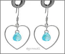 17mm w/ Blue Cz #65259 925 Silver Heart Dangle Earrings