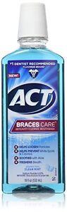 ACT Braces Care Anticavity Fluoride Mouthwash, Clean Mint, 18 oz (6 Pack)