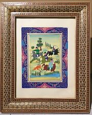 Beautifully Framed Painting - Horsemen - Persian / Mongolian Art?