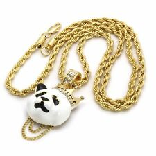 "14k Gold Plated Custom Iced Out Hip Hop Crown Panda Pendant 4mm 30"" Rope Chain"