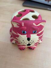 Bagpuss ceramic make up brush holder pink & white cat