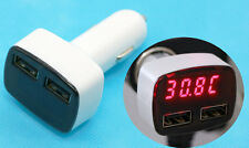 4in1 LED Display Voltage Temperature Amp Meter Car Cigarette USB Charger WHITE