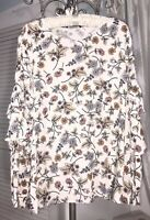 NEW Plus Size 2X 3X Ivory Gold Floral Blouse Ruffle Top Sanctuary Shirt