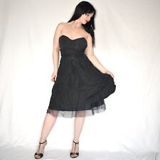 raschelig schwarzes COCKTAILKLEID* S 36 trägerloses Satin Partykleid* Abendkleid