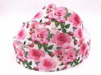 5-10 Yard 1'' 25MM Roses Printed Grosgrain Ribbon Hair Bow Sewing Crafts Ribbon