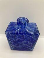 Blue Swirl Square art Glass Bud Vase