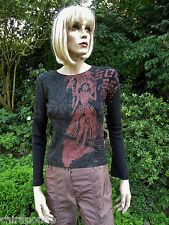Custo Barcelona Top Shirt  Gr. 36 Gr.38 braun schwarz rot Hawaii Longsleeve
