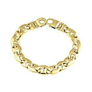 Men's Mariner Curb Link Bracelet 14k Solid Yellow Gold Handmade 63 g  11 mm
