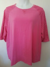 Womens Denim & Co Active Knit Tunic Top Size 3X Pink  Eyelet Trim