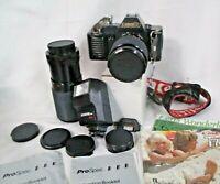 Canon T70 35mm Body+ 2 Zoom Lens 1:3.5-4.5 f/28-70mm & 1:3.9 f/80-200+Flash (JBC