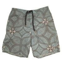 Quicksilver Mens L Swim Trunk Shorts Paisley Blue Grey White Pockets EUC