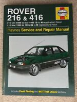 Rover 216 (1989 - 1996) & 416 (1990 - 1995) G to N Haynes Owners Workshop Manual