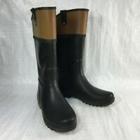 Sperry Nellie Kate STS96124 Black & Brown Rubber Pull On Womens Rain Boots Sz 9