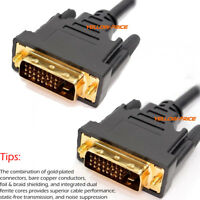 DVI to DVI Cable Dual Link 24+1 Male Video Cable Adapter Gold 6 10 15 25 FT