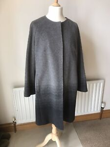 Windsmoor Coat Grey Woollen Collarless Size 16