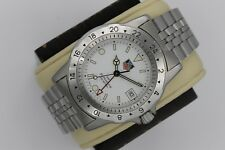 Tag Heuer Jumbo 159.006 GMT Dual 24 Hour 1500 SS Watch Mens Mint Crystal White