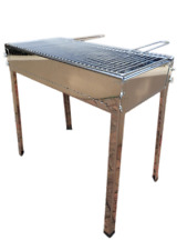 Ferraboli Freestanding Kebab Grill. Stainless Steel Body and Legs, Charcoal BBQ