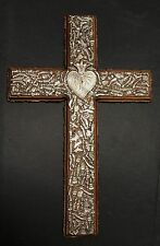 "Large Milagros Cross Crucifix Silver Finish Wood 18"" Mexico Charms Votive Charms"