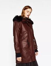 Zara Bordeaux Bourgogne Pince Padded Weatherproof Waxed Look Parka Coat XS