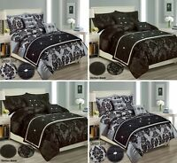 Modern Damask Duvet Cover Bedding Set + Pillowcase Double King Super King Sizes
