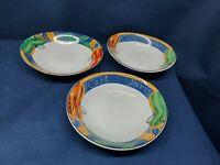 """Vintage Sango Stoneware """"Cafe Paris"""" Set/3 Oval Soup/Salad Bowls #4914 Retired"""