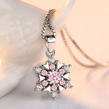 925 Sterling Silver Crystal Flower Pendant Necklace For Women Fashion Jewelry