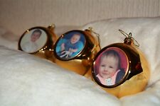 Large personalised Christmas tree gold hanging bauble your photo printed gift