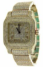 Fully Iced Out Techno Pave Simulated Diamond Gold Finish Mens Steel Watch